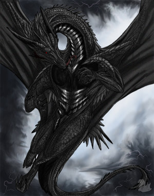 black dragon with red eye